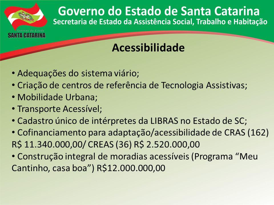 Acessibilidade Adequações do sistema viário; Criação de centros de referência de Tecnologia Assistivas; Mobilidade Urbana; Transporte Acessível; Cadastro único de intérpretes da LIBRAS no Estado de SC; Cofinanciamento para adaptação/acessibilidade de CRAS (162) R$ 11.340.000,00/ CREAS (36) R$ 2.520.000,00 Construção integral de moradias acessíveis (Programa Meu Cantinho, casa boa) R$12.000.000,00
