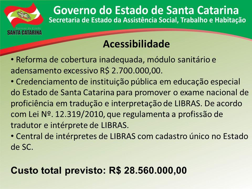 Acessibilidade Reforma de cobertura inadequada, módulo sanitário e adensamento excessivo R$ 2.700.000,00. Credenciamento de instituição pública em edu