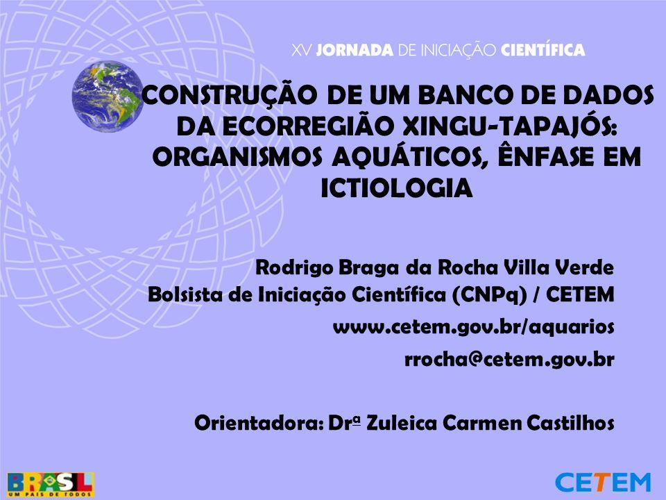 CONSTRUÇÃO DE UM BANCO DE DADOS DA ECORREGIÃO XINGU-TAPAJÓS: ORGANISMOS AQUÁTICOS, ÊNFASE EM ICTIOLOGIA Rodrigo Braga da Rocha Villa Verde Bolsista de Iniciação Científica (CNPq) / CETEM www.cetem.gov.br/aquarios rrocha@cetem.gov.br Orientadora: Dr a Zuleica Carmen Castilhos
