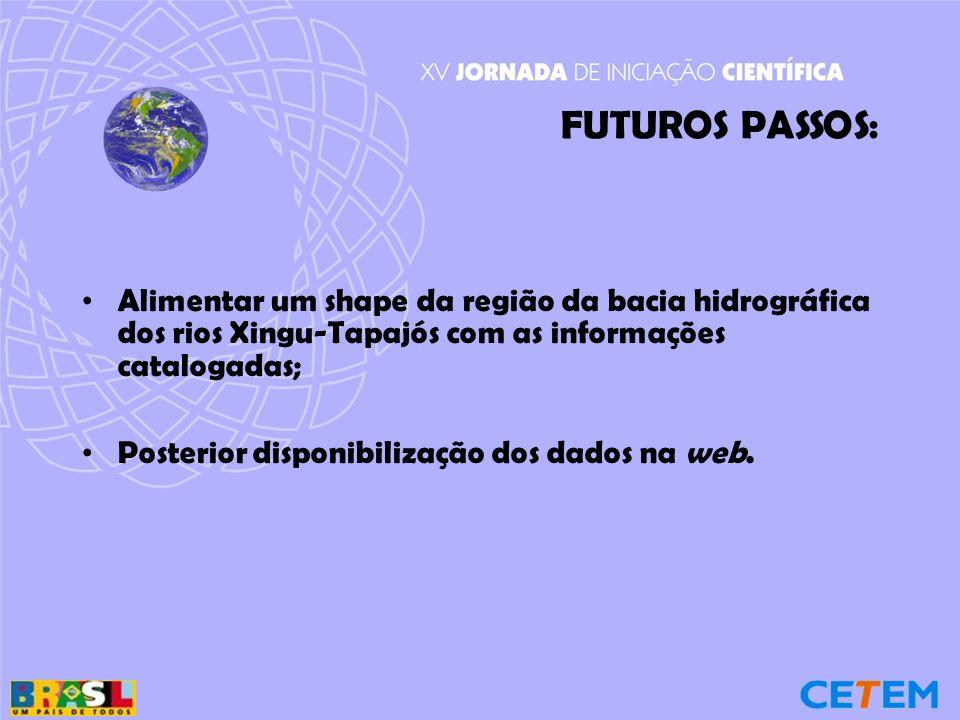 FUTUROS PASSOS: Alimentar um shape da região da bacia hidrográfica dos rios Xingu-Tapajós com as informações catalogadas; Posterior disponibilização dos dados na web.
