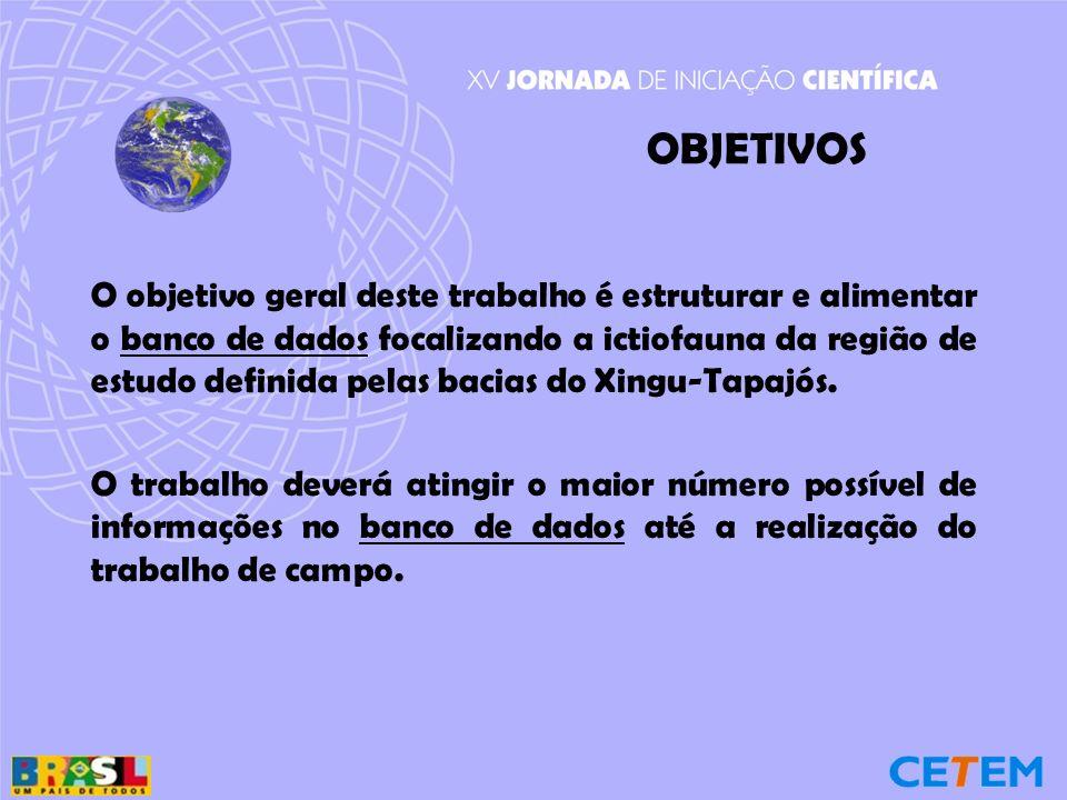 OBJETIVOS O objetivo geral deste trabalho é estruturar e alimentar o banco de dados focalizando a ictiofauna da região de estudo definida pelas bacias do Xingu-Tapajós.