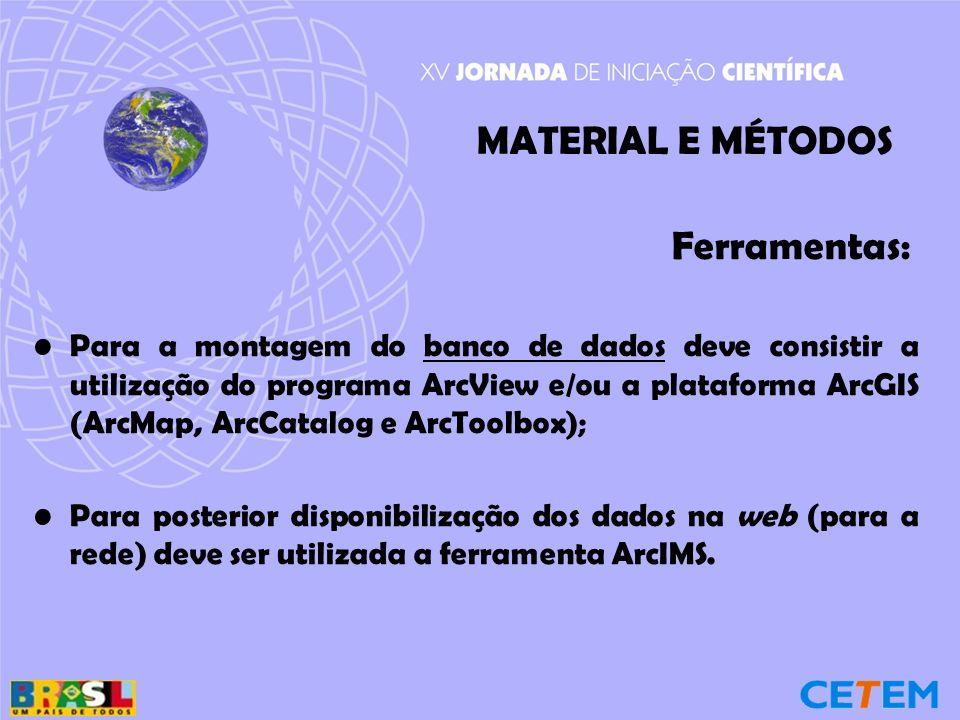Ferramentas: Para a montagem do banco de dados deve consistir a utilização do programa ArcView e/ou a plataforma ArcGIS (ArcMap, ArcCatalog e ArcToolbox); Para posterior disponibilização dos dados na web (para a rede) deve ser utilizada a ferramenta ArcIMS.