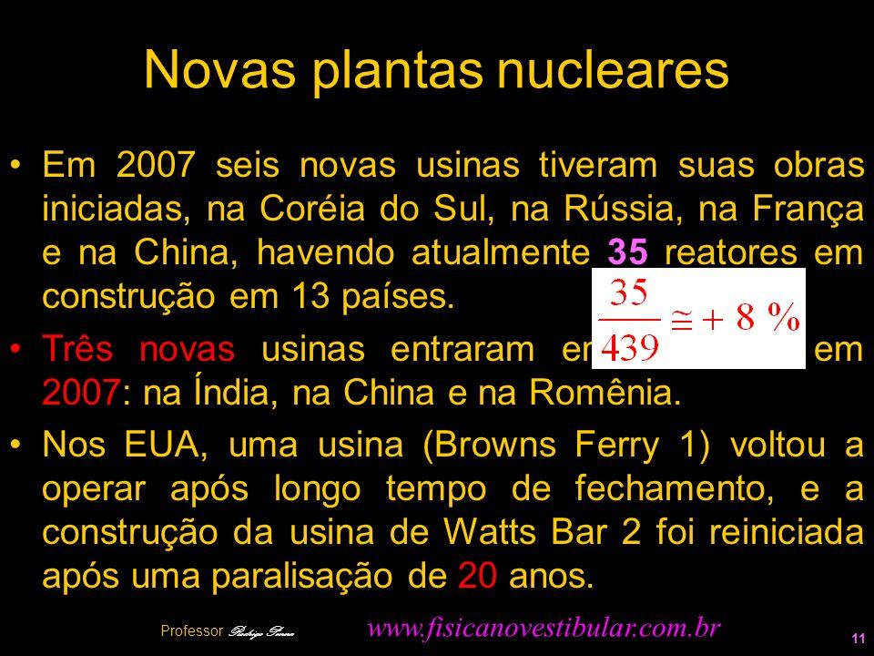 Novas plantas nucleares Em 2007 seis novas usinas tiveram suas obras iniciadas, na Coréia do Sul, na Rússia, na França e na China, havendo atualmente