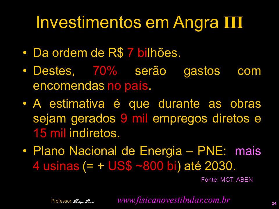Investimentos em Angra III Da ordem de R$ 7 bilhões. Destes, 70% serão gastos com encomendas no país. A estimativa é que durante as obras sejam gerado