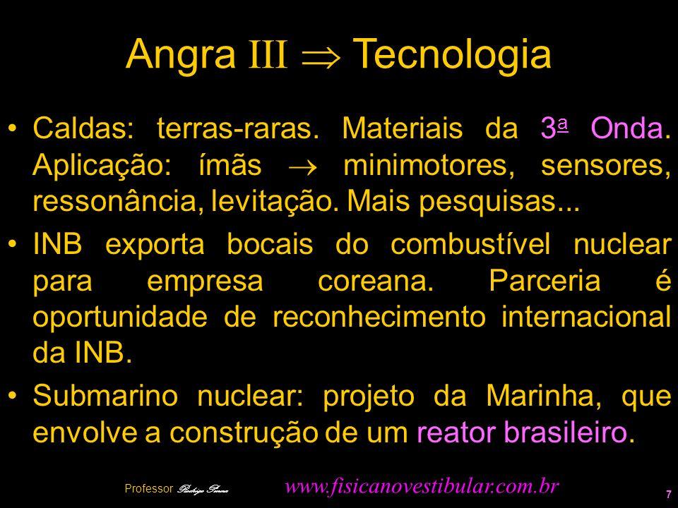 Angra III Tecnologia Caldas: terras-raras. Materiais da 3 a Onda. Aplicação: ímãs minimotores, sensores, ressonância, levitação. Mais pesquisas... INB