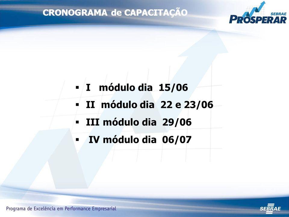 CRONOGRAMA de CAPACITAÇÃO I módulo dia 15/06 II módulo dia 22 e 23/06 III módulo dia 29/06 IV módulo dia 06/07
