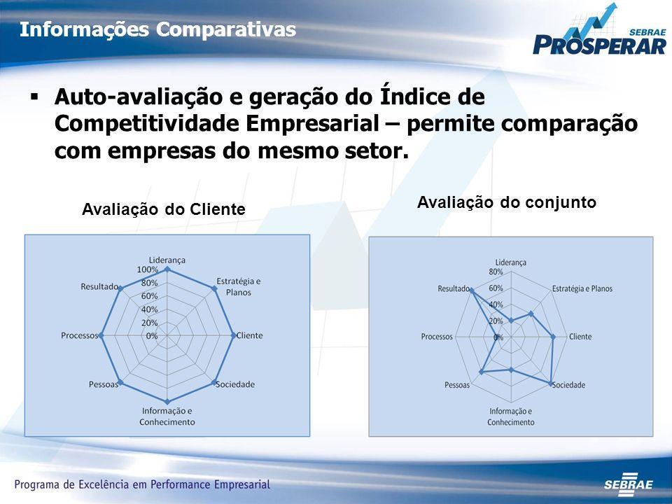 Informações Comparativas Auto-avaliação e geração do Índice de Competitividade Empresarial – permite comparação com empresas do mesmo setor.