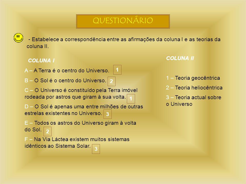 QUESTIONÁRIO - Estabelece a correspondência entre as afirmações da coluna I e as teorias da coluna II. COLUNA I A – A Terra é o centro do Universo. B