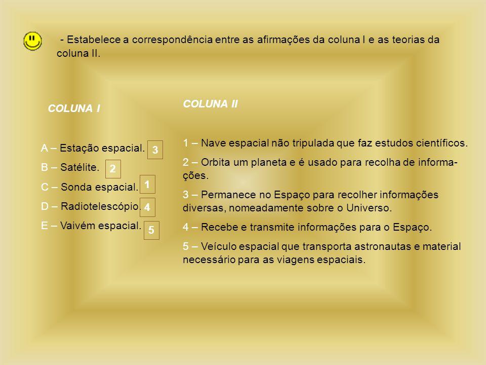- Estabelece a correspondência entre as afirmações da coluna I e as teorias da coluna II. COLUNA I A – Estação espacial. B – Satélite. C – Sonda espac