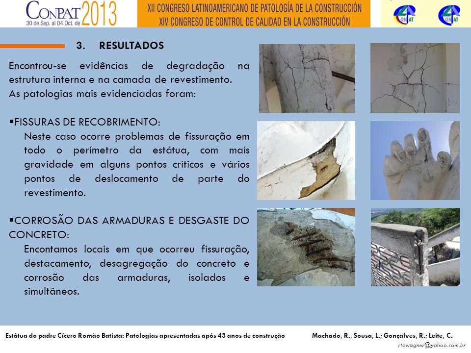 3.RESULTADOS Encontrou-se evidências de degradação na estrutura interna e na camada de revestimento.