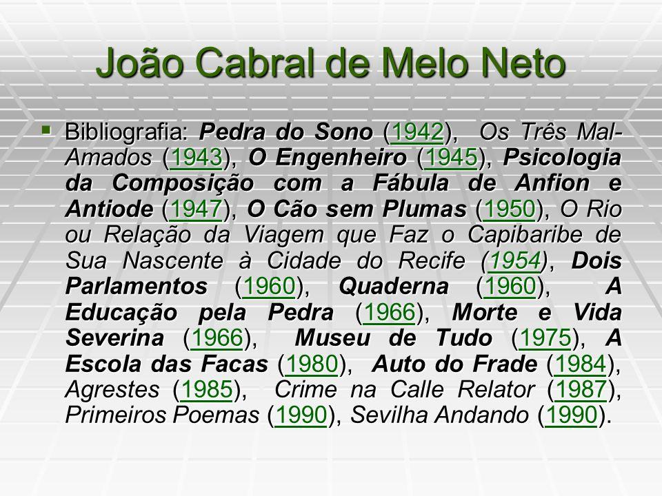 João Cabral de Melo Neto - Melhores Poemas Melhores Poemas é uma coletânea que contém as melhores poesias de João Cabral de Melo Neto, formulada por Antonio Carlos Secchin.
