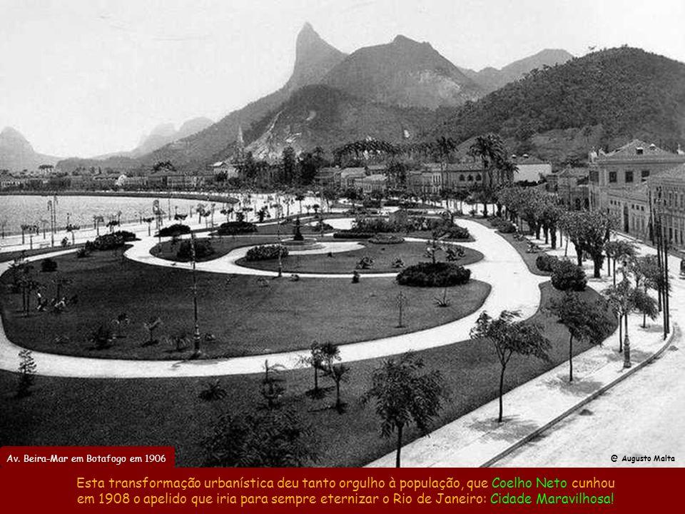 Av. Beira-Mar e Jardim da Glória em 1906 Também em 1903 foi iniciada a Av. Beira-Mar, inaugurada em 1906 e feita com aterro do Morro do Castelo. @ Mar
