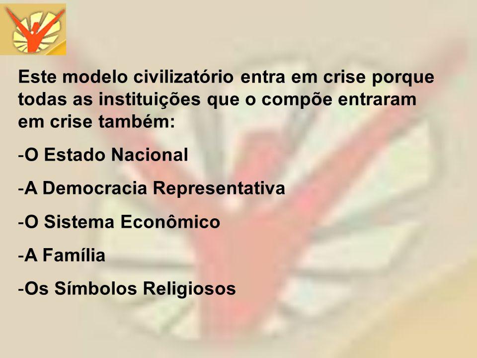 Este modelo civilizatório entra em crise porque todas as instituições que o compõe entraram em crise também: -O Estado Nacional -A Democracia Represen
