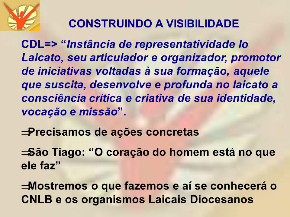 CONSTRUINDO A VISIBILIDADE CDL=> Instância de representatividade lo Laicato, seu articulador e organizador, promotor de iniciativas voltadas à sua for
