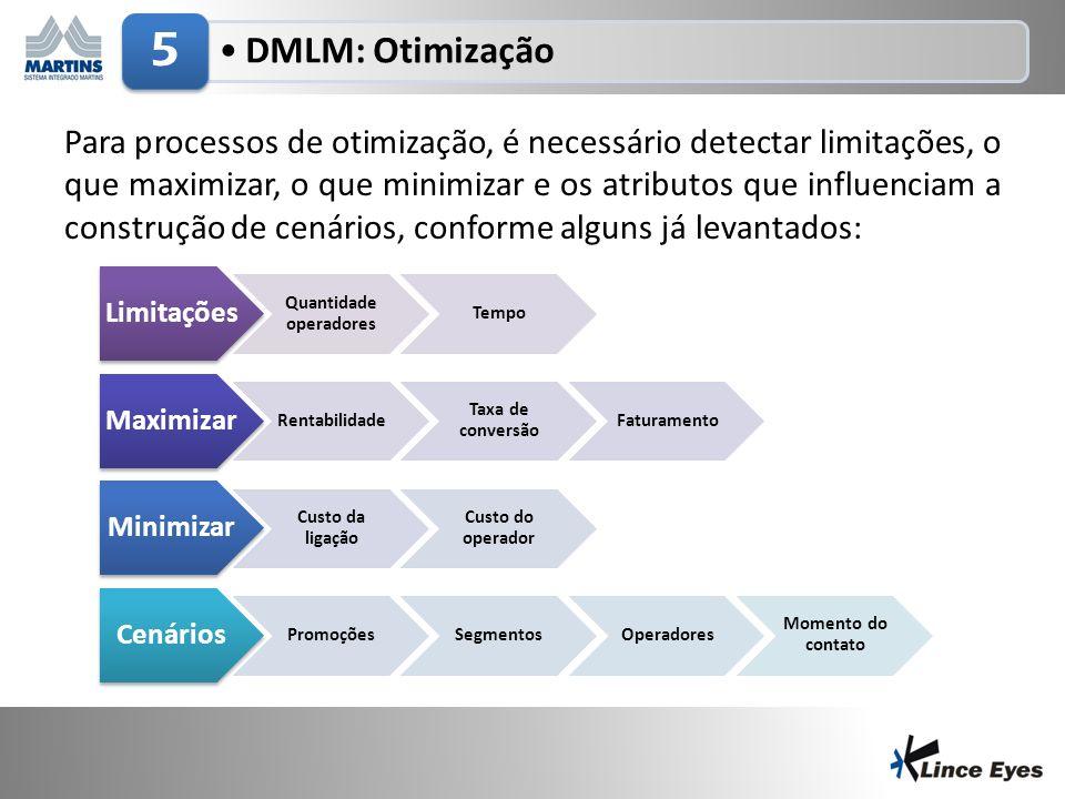 3/5/201410 DMLM: Otimização 5 Limitações Quantidade operadores Tempo Maximizar Rentabilidade Taxa de conversão Faturamento Minimizar Custo da ligação