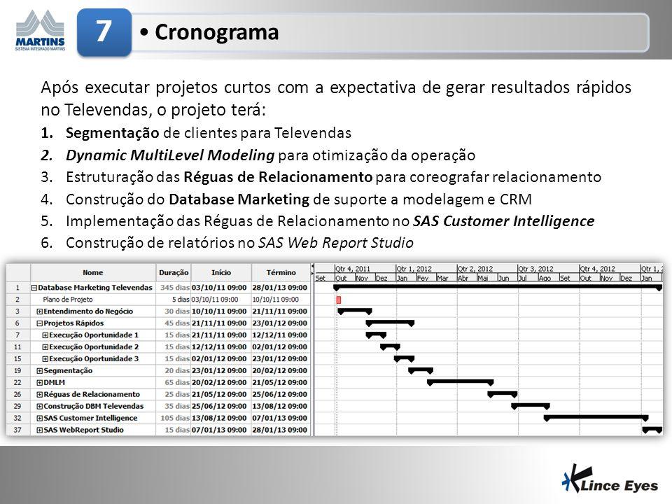 3/5/201412 Cronograma 7 Após executar projetos curtos com a expectativa de gerar resultados rápidos no Televendas, o projeto terá: 1.Segmentação de clientes para Televendas 2.Dynamic MultiLevel Modeling para otimização da operação 3.Estruturação das Réguas de Relacionamento para coreografar relacionamento 4.Construção do Database Marketing de suporte a modelagem e CRM 5.Implementação das Réguas de Relacionamento no SAS Customer Intelligence 6.Construção de relatórios no SAS Web Report Studio
