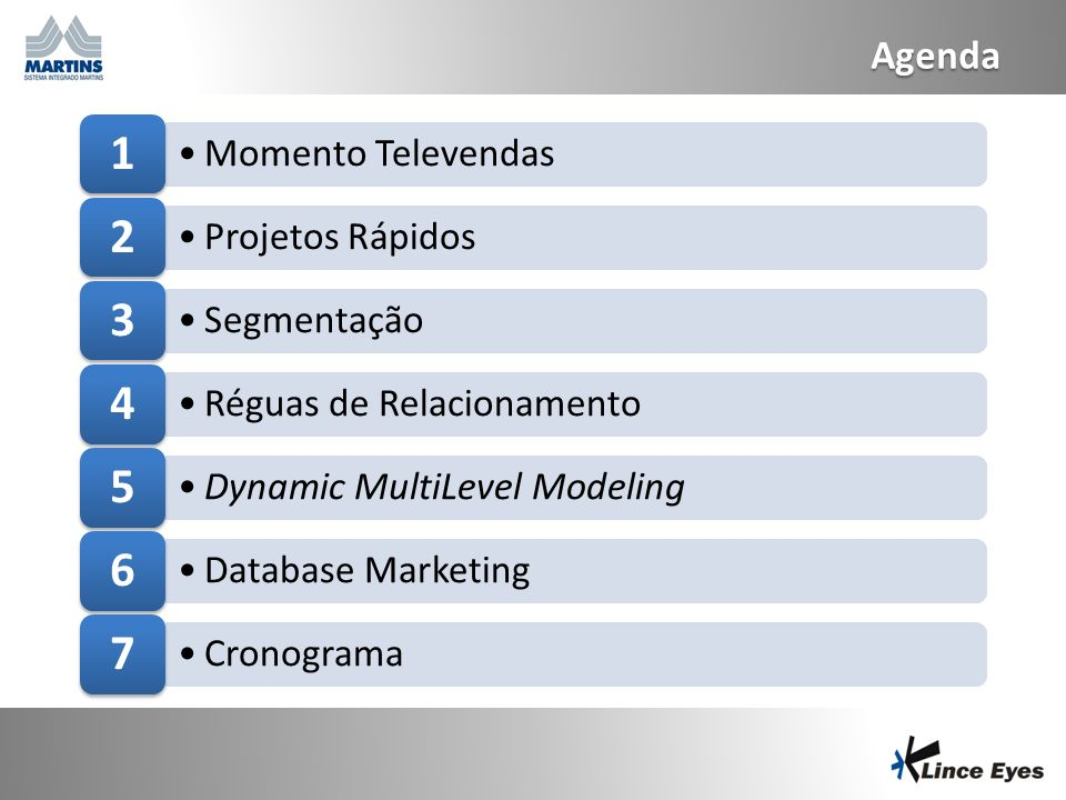 2 Agenda Momento Televendas 1 Projetos Rápidos 2 Segmentação 3 Réguas de Relacionamento 4 Dynamic MultiLevel Modeling 5 Database Marketing 6 Cronogram