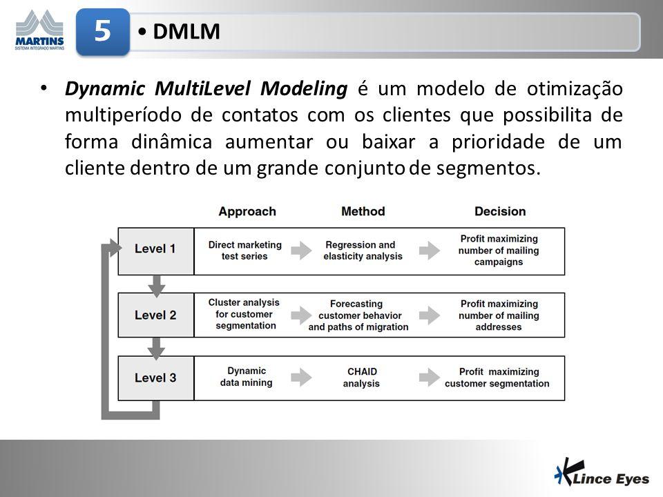 3/5/20147 DMLM 5 Dynamic MultiLevel Modeling é um modelo de otimização multiperíodo de contatos com os clientes que possibilita de forma dinâmica aumentar ou baixar a prioridade de um cliente dentro de um grande conjunto de segmentos.