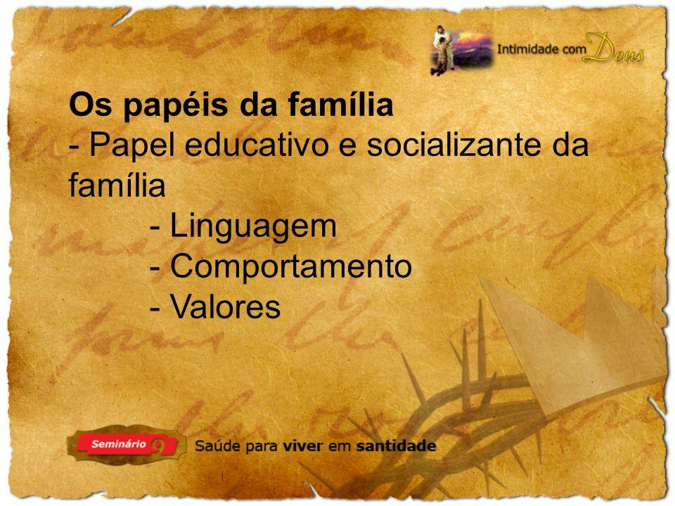 Os papéis da família - Papel educativo e socializante da família - Linguagem - Comportamento - Valores