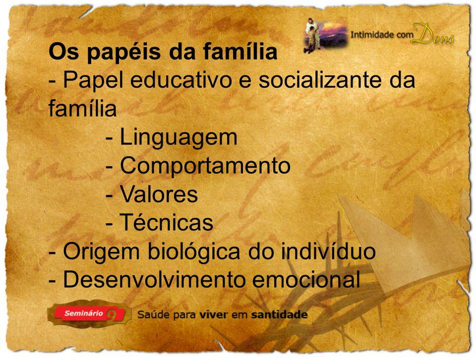 Os papéis da família - Papel educativo e socializante da família - Linguagem - Comportamento - Valores - Técnicas - Origem biológica do indivíduo - Desenvolvimento emocional