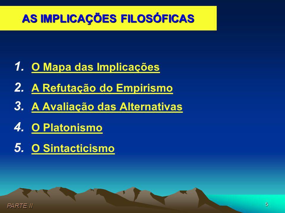 5 1. O Mapa das Implicações 2. A Refutação do Empirismo 3. A Avaliação das Alternativas 4. O Platonismo 5. O Sintacticismo PARTE II AS IMPLICAÇÕES FIL