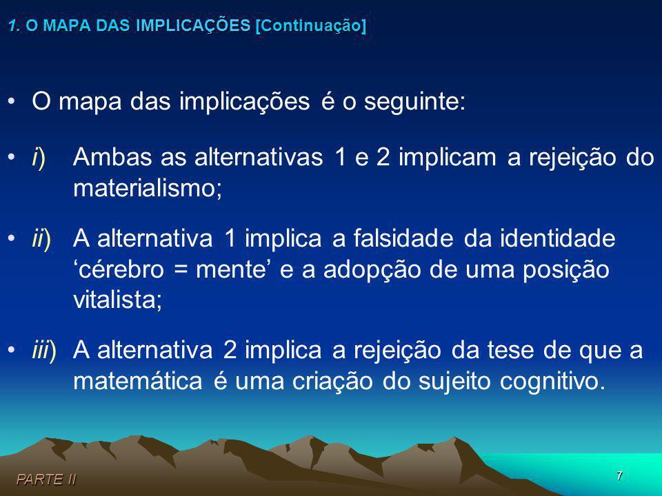 7 PARTE II 1. O MAPA DAS IMPLICAÇÕES [Continuação] O mapa das implicações é o seguinte: i)Ambas as alternativas 1 e 2 implicam a rejeição do materiali