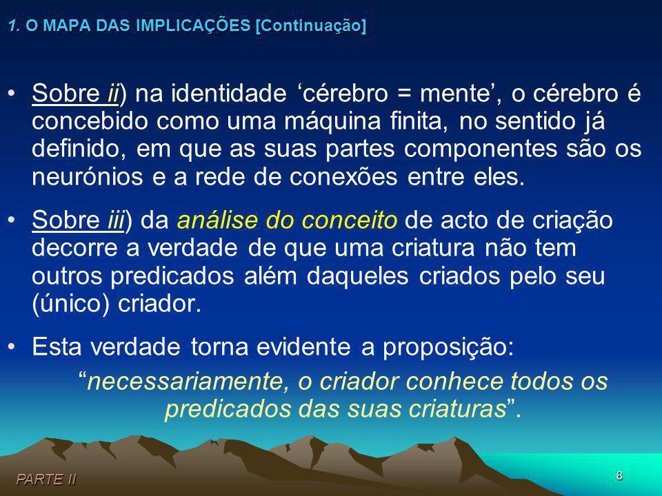 8 Sobre ii) na identidade cérebro = mente, o cérebro é concebido como uma máquina finita, no sentido já definido, em que as suas partes componentes sã