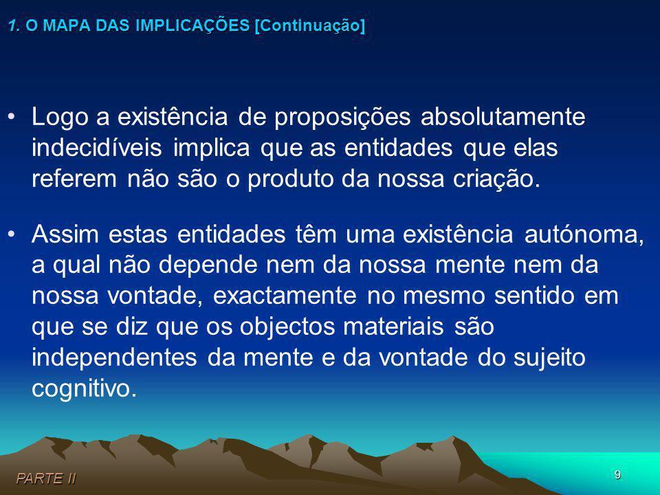 9 Logo a existência de proposições absolutamente indecidíveis implica que as entidades que elas referem não são o produto da nossa criação. Assim esta