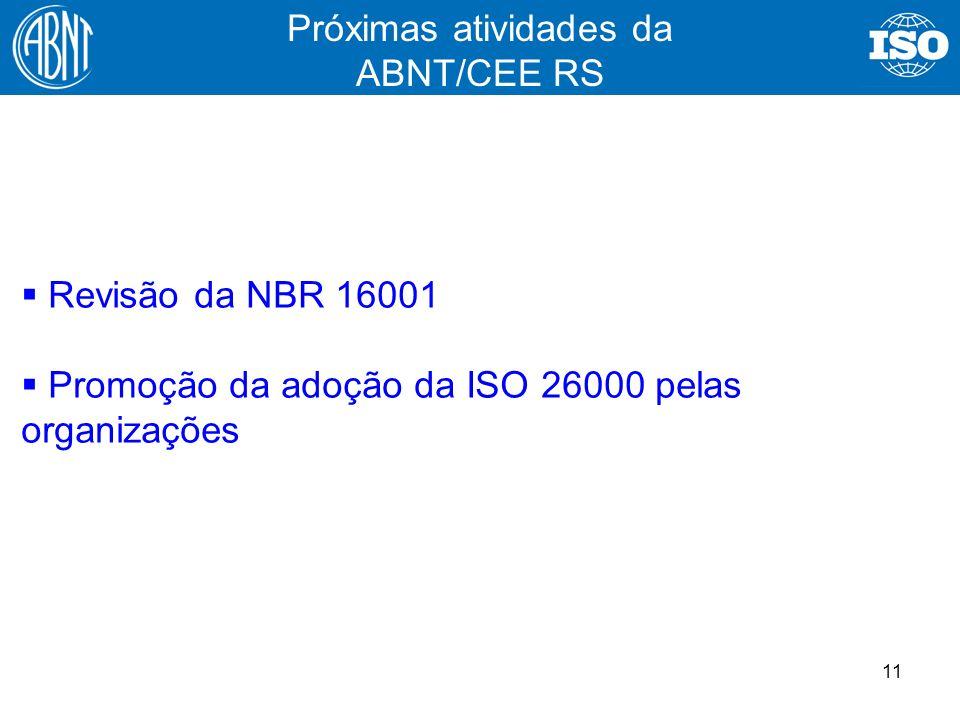 11 Revisão da NBR 16001 Promoção da adoção da ISO 26000 pelas organizações Próximas atividades da ABNT/CEE RS