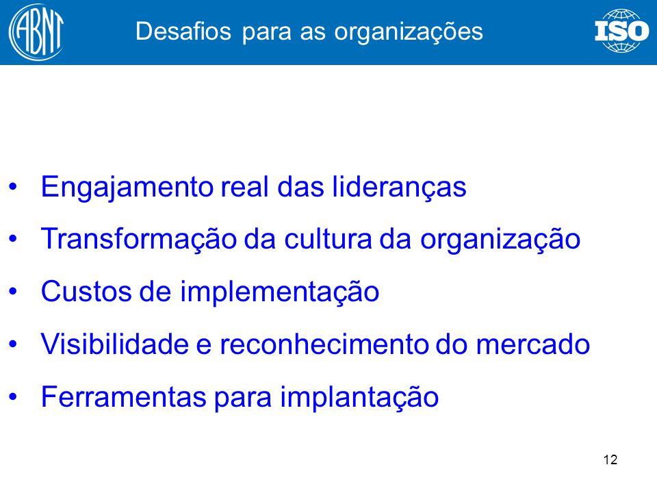 12 Engajamento real das lideranças Transformação da cultura da organização Custos de implementação Visibilidade e reconhecimento do mercado Ferramenta