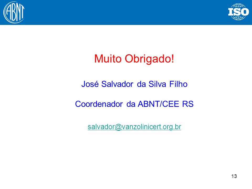 13 Muito Obrigado! José Salvador da Silva Filho Coordenador da ABNT/CEE RS salvador@vanzolinicert.org.br