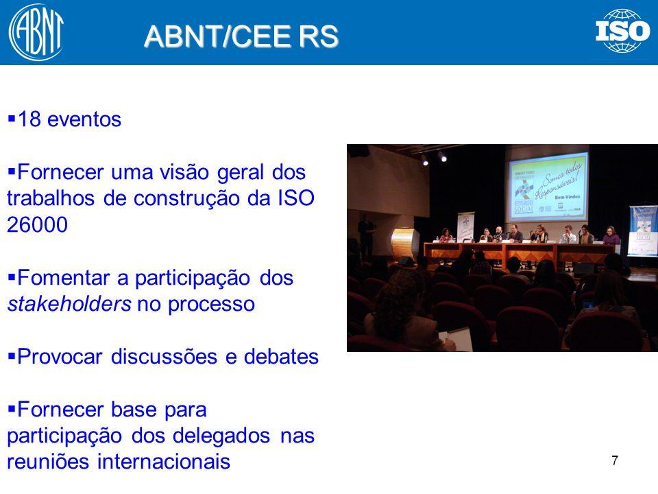 7 ABNT/CEE RS 18 eventos Fornecer uma visão geral dos trabalhos de construção da ISO 26000 Fomentar a participação dos stakeholders no processo Provoc