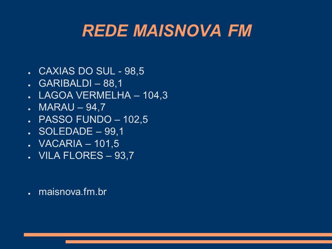 REDE MAISNOVA FM CAXIAS DO SUL - 98,5 GARIBALDI – 88,1 LAGOA VERMELHA – 104,3 MARAU – 94,7 PASSO FUNDO – 102,5 SOLEDADE – 99,1 VACARIA – 101,5 VILA FL