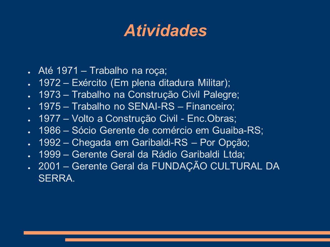 Atividades Até 1971 – Trabalho na roça; 1972 – Exército (Em plena ditadura Militar); 1973 – Trabalho na Construção Civil Palegre; 1975 – Trabalho no S
