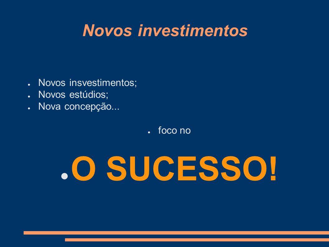 Novos investimentos Novos insvestimentos; Novos estúdios; Nova concepção... foco no O SUCESSO!