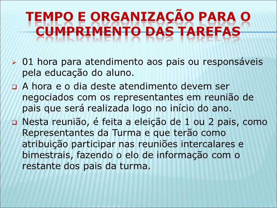 01 hora para atendimento aos pais ou responsáveis pela educação do aluno.