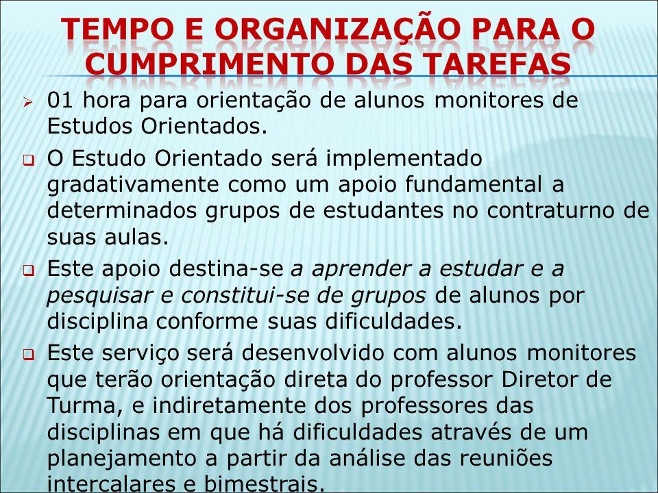01 hora para orientação de alunos monitores de Estudos Orientados.