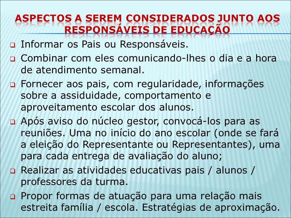 Informar os Pais ou Responsáveis.