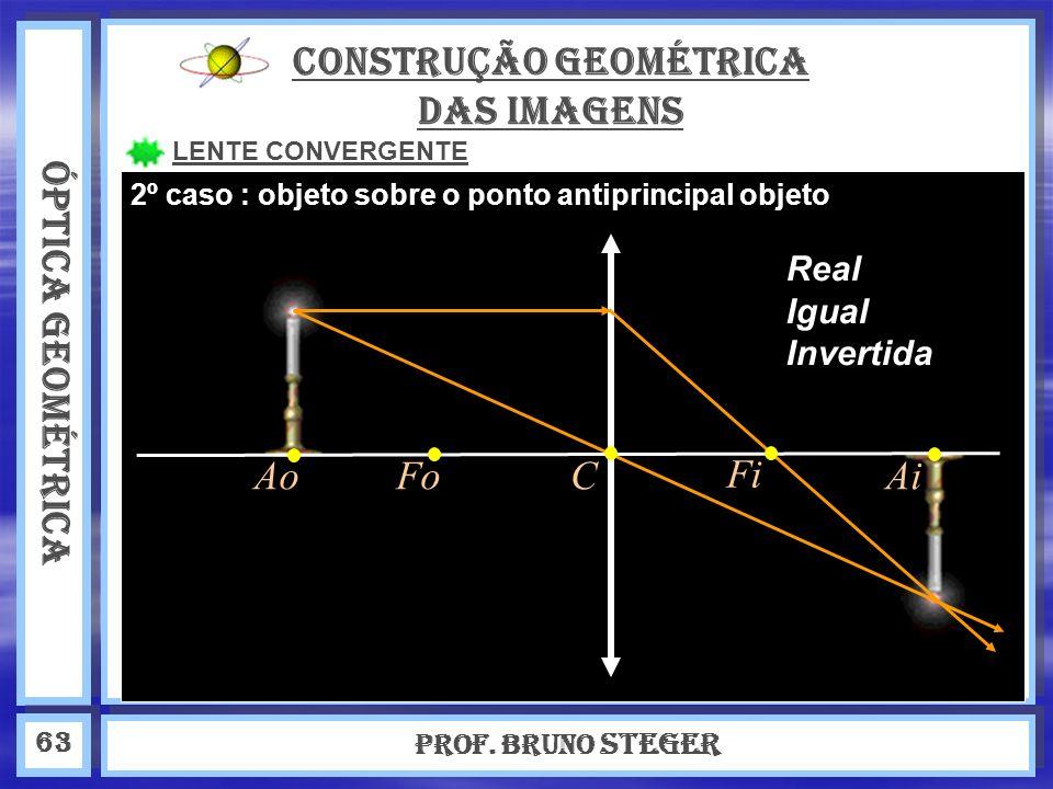 ÓPTICA GEOMÉTRICA Prof. Bruno Steger 63 CONSTRUÇÃO GEOMÉTRICA DAS IMAGENS LENTE CONVERGENTE Real Igual Invertida 2º caso : objeto sobre o ponto antipr