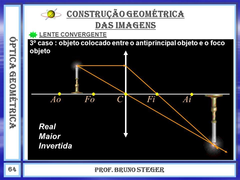 ÓPTICA GEOMÉTRICA Prof. Bruno Steger 64 CONSTRUÇÃO GEOMÉTRICA DAS IMAGENS LENTE CONVERGENTE Real Maior Invertida 3º caso : objeto colocado entre o ant