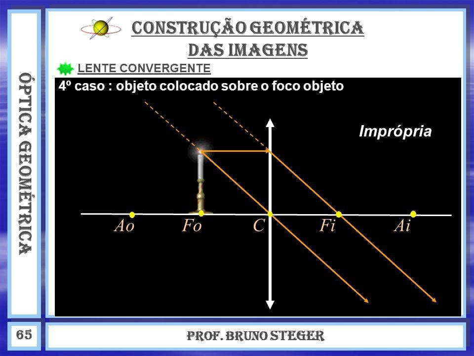 ÓPTICA GEOMÉTRICA Prof. Bruno Steger 65 CONSTRUÇÃO GEOMÉTRICA DAS IMAGENS LENTE CONVERGENTE Imprópria 4º caso : objeto colocado sobre o foco objeto Ao