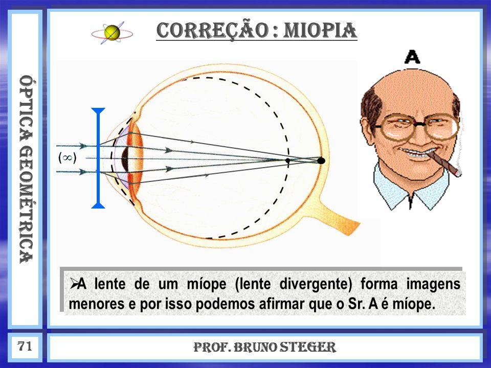 ÓPTICA GEOMÉTRICA Prof. Bruno Steger 71 Correção : Miopia A lente de um míope (lente divergente) forma imagens menores e por isso podemos afirmar que