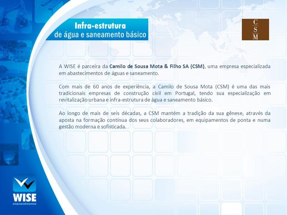 A WISE é parceira da Camilo de Sousa Mota & Filho SA (CSM), uma empresa especializada em abastecimentos de águas e saneamento. Com mais de 60 anos de