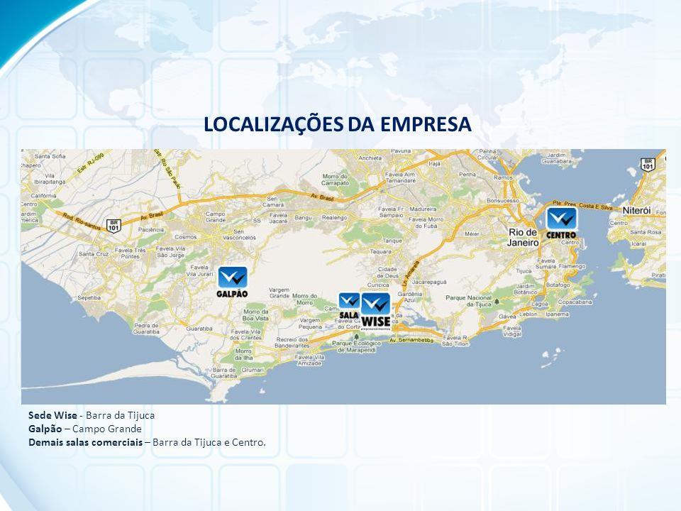 LOCALIZAÇÕES DA EMPRESA Sede Wise - Barra da Tijuca Galpão – Campo Grande Demais salas comerciais – Barra da Tijuca e Centro.