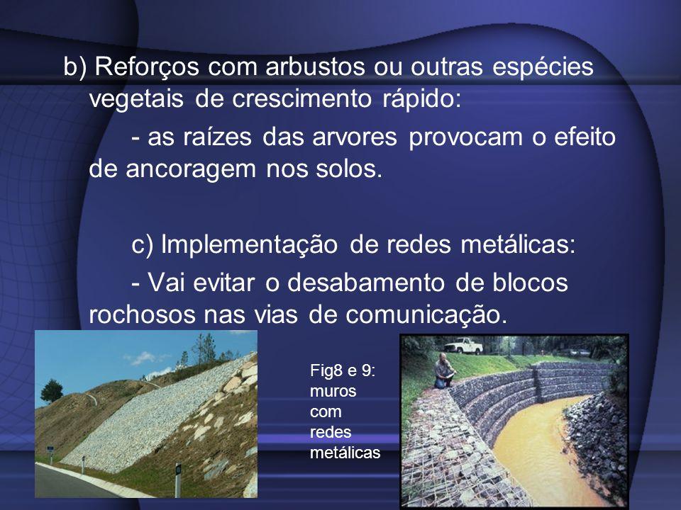b) Reforços com arbustos ou outras espécies vegetais de crescimento rápido: - as raízes das arvores provocam o efeito de ancoragem nos solos. c) Imple