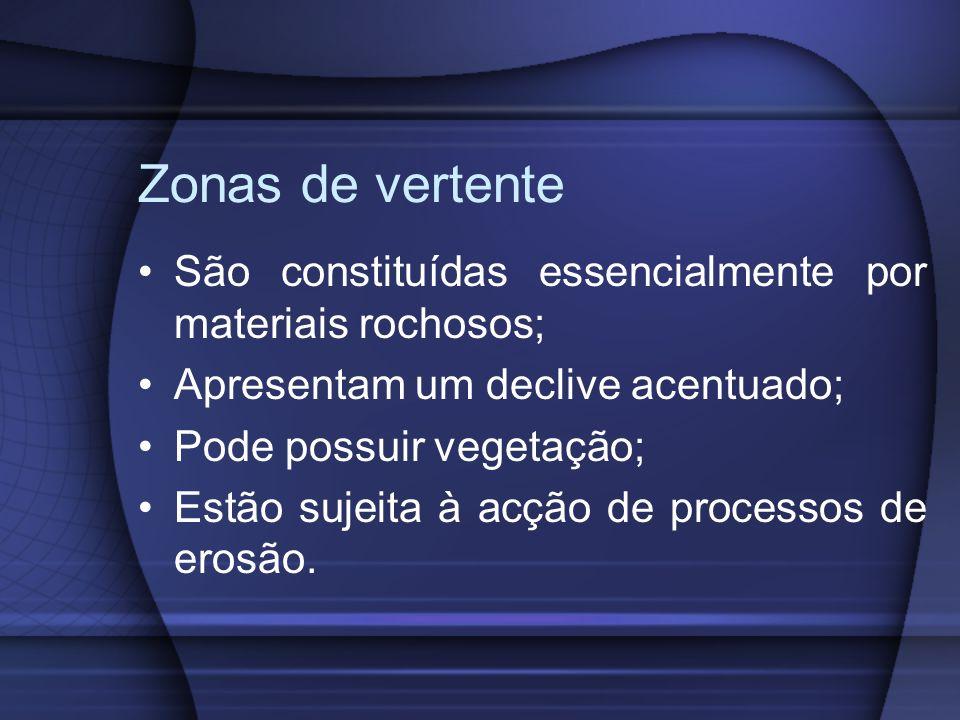 Zonas de vertente São constituídas essencialmente por materiais rochosos; Apresentam um declive acentuado; Pode possuir vegetação; Estão sujeita à acç