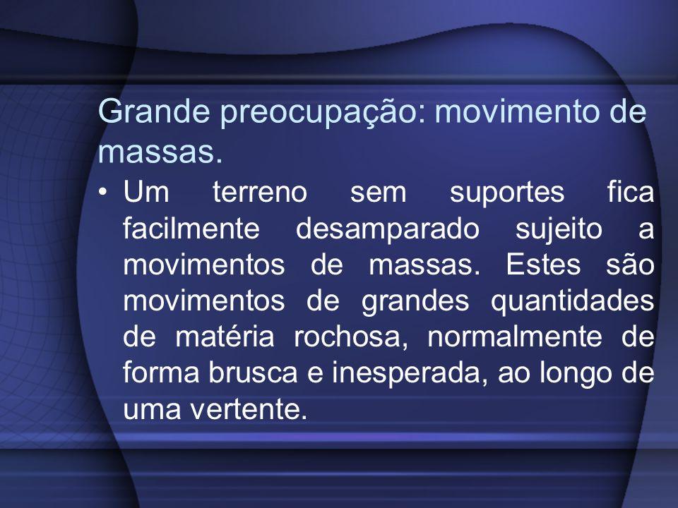 Grande preocupação: movimento de massas. Um terreno sem suportes fica facilmente desamparado sujeito a movimentos de massas. Estes são movimentos de g
