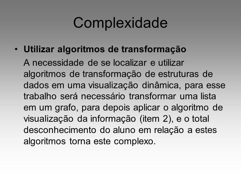 Complexidade Utilizar algoritmos de transformação A necessidade de se localizar e utilizar algoritmos de transformação de estruturas de dados em uma v