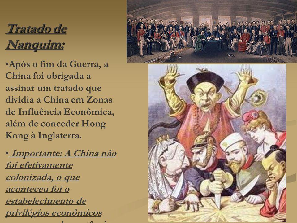 Tratado de Nanquim: Após o fim da Guerra, a China foi obrigada a assinar um tratado que dividia a China em Zonas de Influência Econômica, além de conc