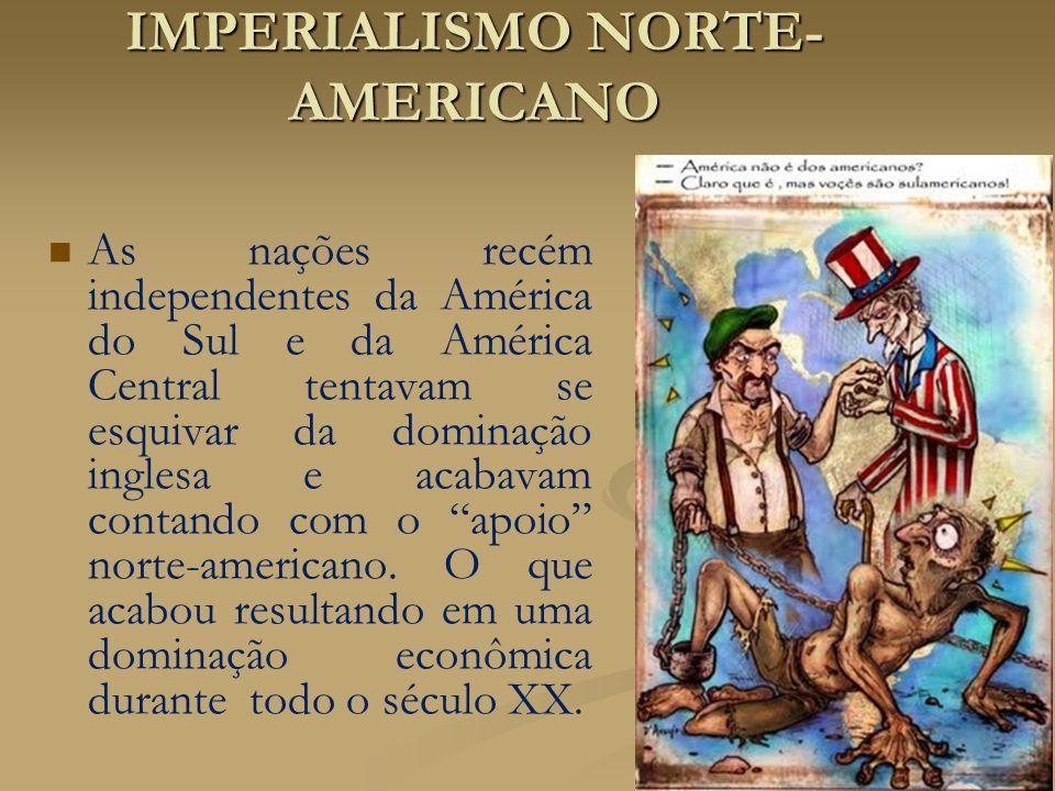 IMPERIALISMO NORTE- AMERICANO As nações recém independentes da América do Sul e da América Central tentavam se esquivar da dominação inglesa e acabava